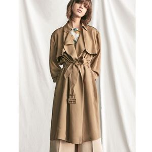 Massimo Dutti long flowing belted tan trench coat